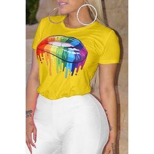 Tops - 🌸Causal Lip Printed Yellow T-Shirt🌸